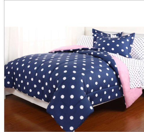 7pc Blue Pink Reversible Polka Dot Queen Comforter Set