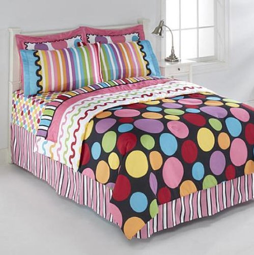 Black, Pink, Yellow, Blue, Polka Dots, Girls, Full Comforter Set