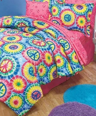 Cute Tie Dye Peace Sign Full Comforter Set