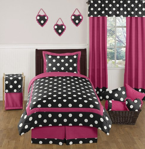 Hot Pink Black And White Cute Polka Dot Comforter Set