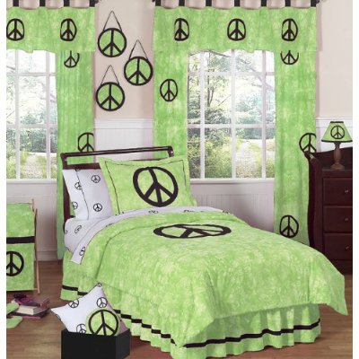 Lime Green Groovy Peace Sign Comforter