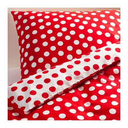 red and white polka dots duvet