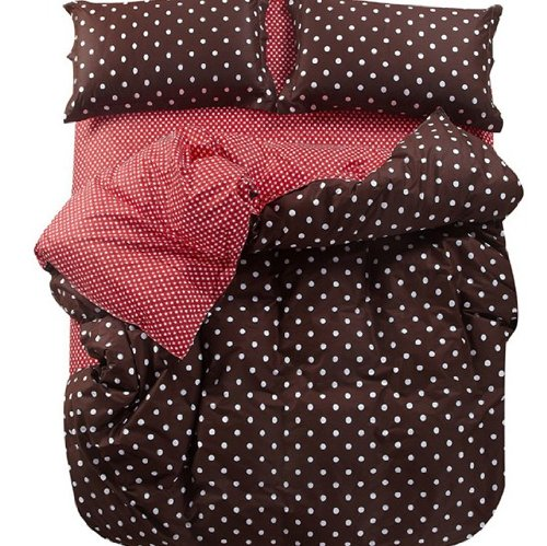 All Cotton Coffee and White Polka Dot Bedding