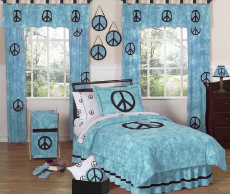 Cute Turquoise Groovy Peace Sign Comforter Set for Girls