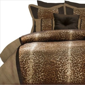 kimba 4 piece king leopard comforter set