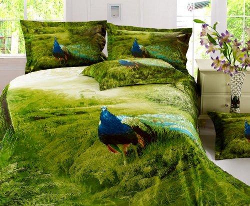 green peacock duvet cover set