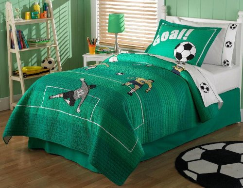 soccer green quilt set