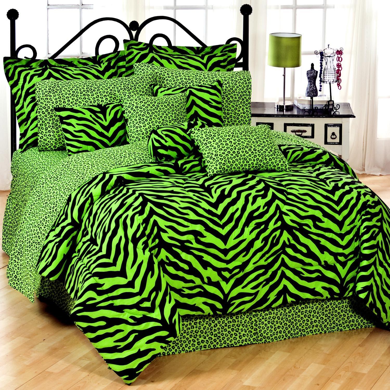 gorgeous lime green zebra print comforter