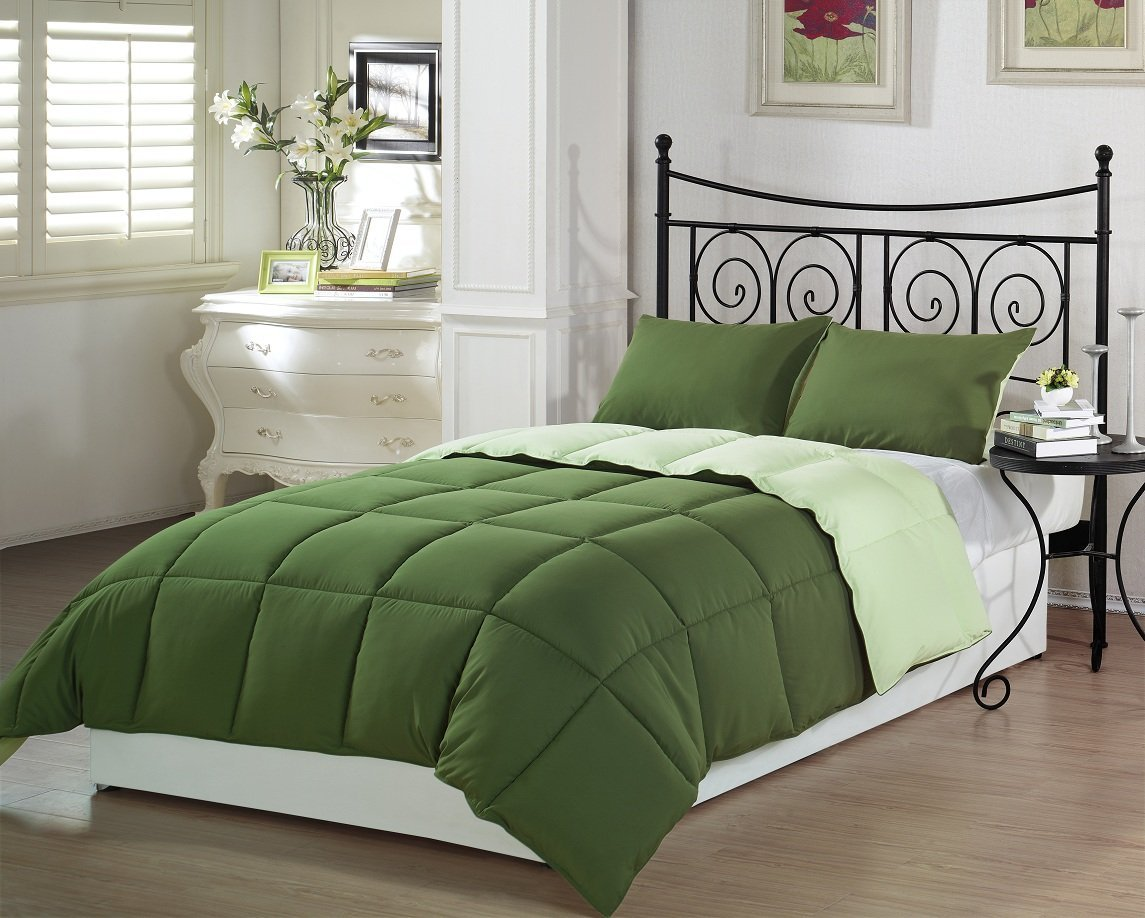 solid green comforter