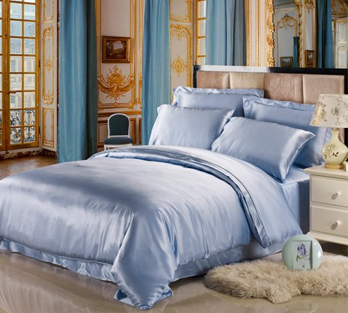 light blue silk bedding set