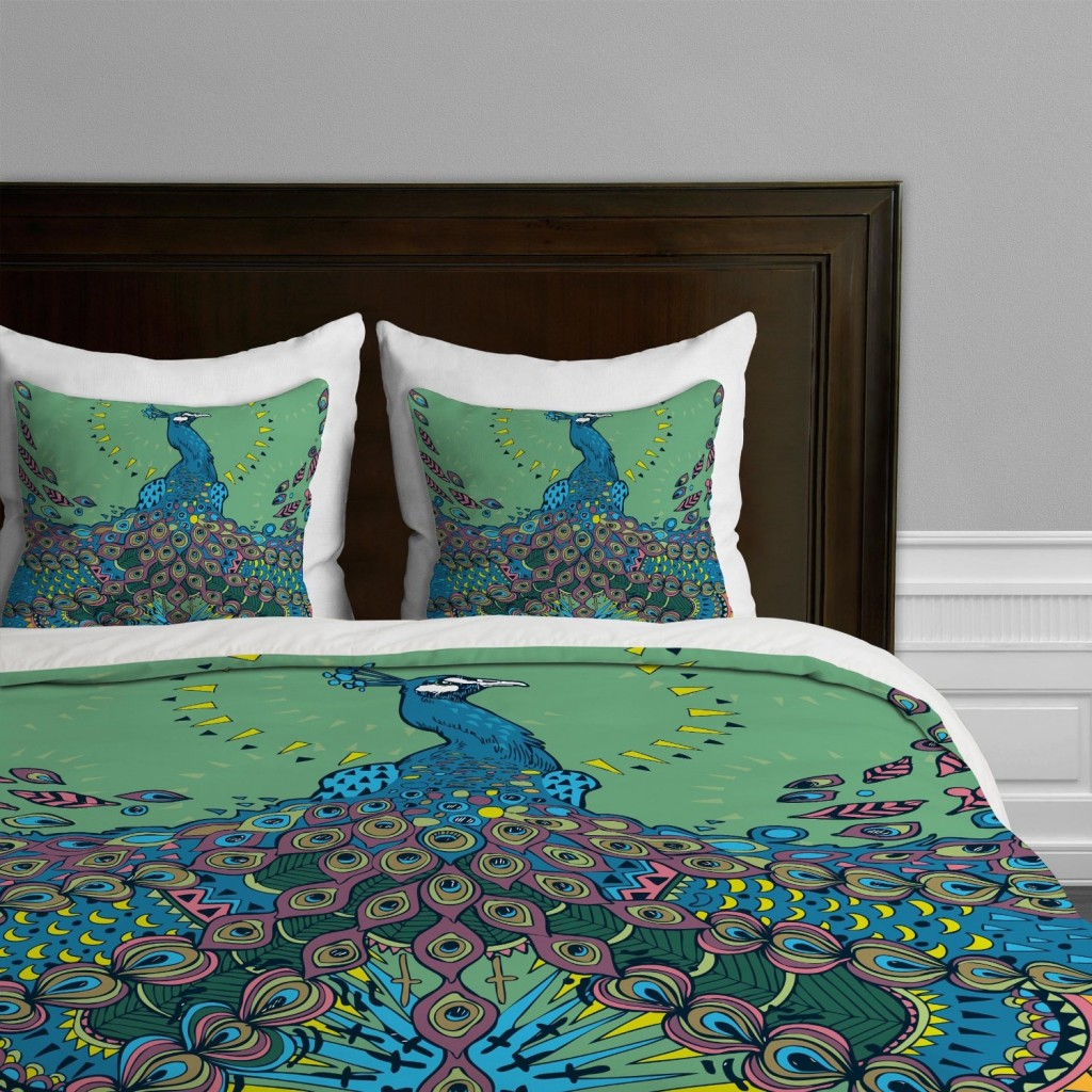 green and blue Peacock Duvet Cover