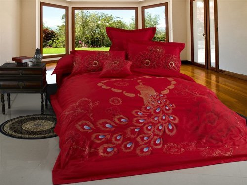 Red Peacock Bedding Set