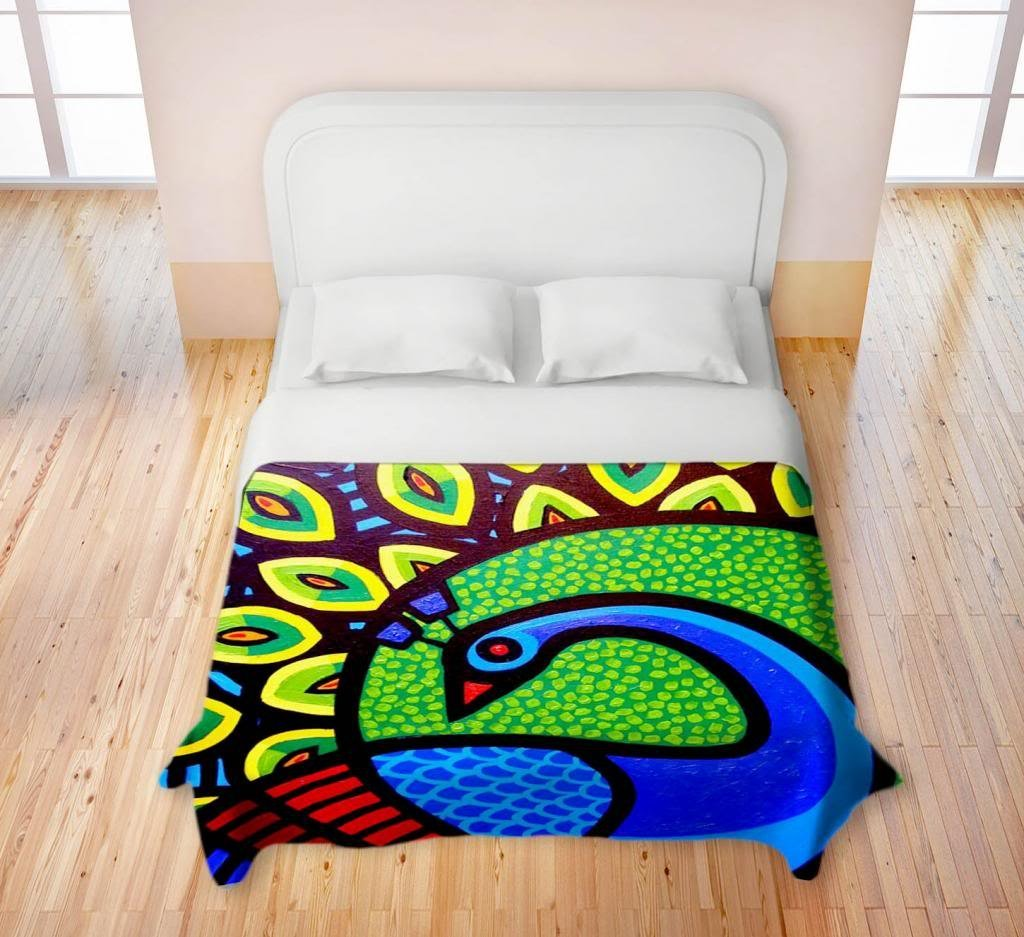 Colorful Peacock Duvet Cover
