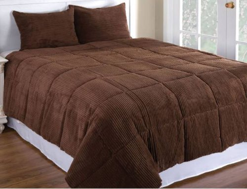 Chocolate Brown Color Microplush Corduroy Comforter Mini Set