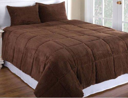 Chocolate Brown Color Microplush Corduroy Comforter Mini Set