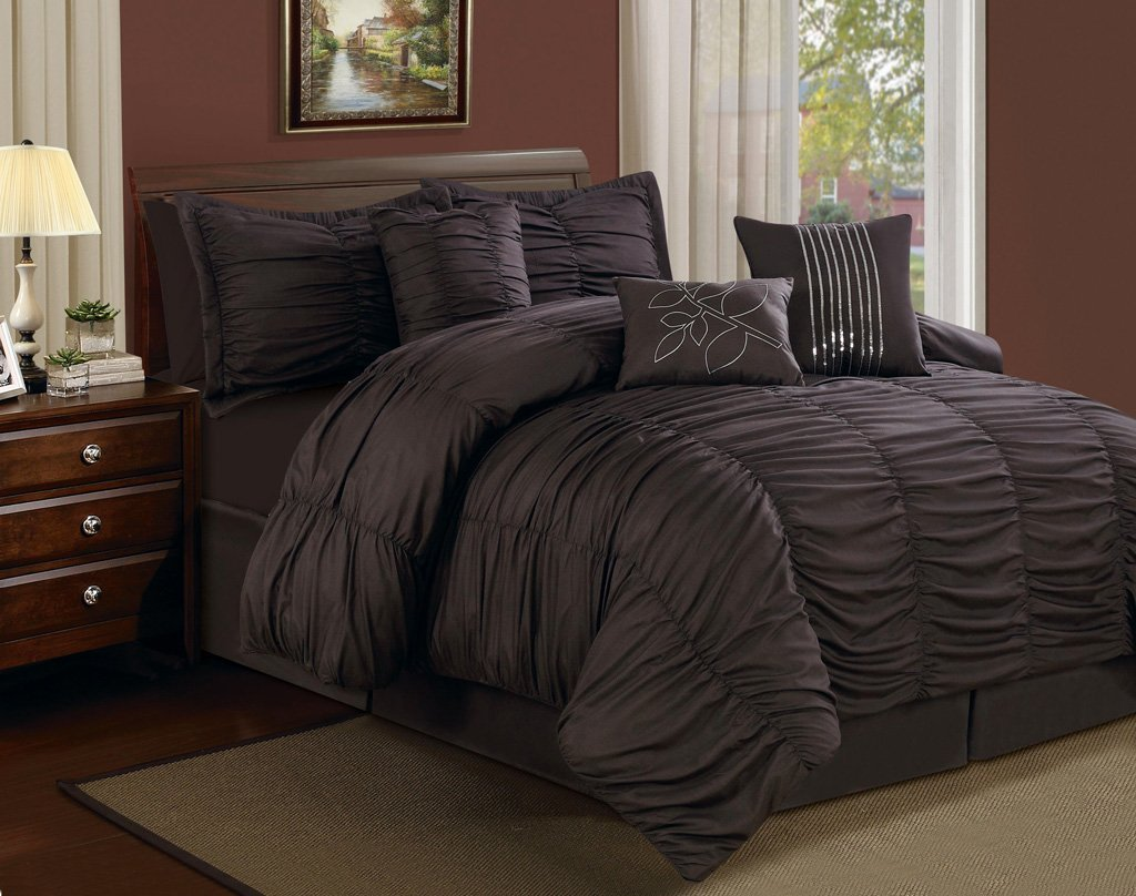 dark chocolate brown Ruffled Comforter Set