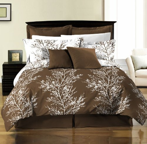 brown and white tree design reversible comforter set