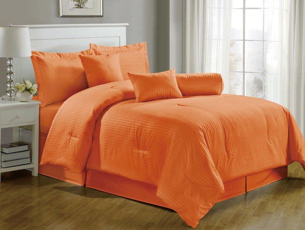 7 Pieces Hotel Dobby Stripe Comforter Set, Queen, Tangerine