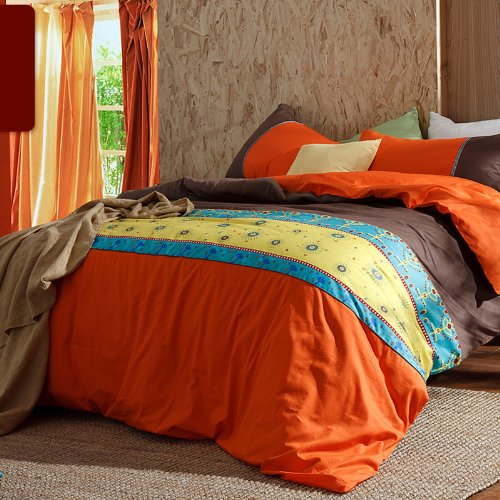 Unique Orange Brown Bedding Set