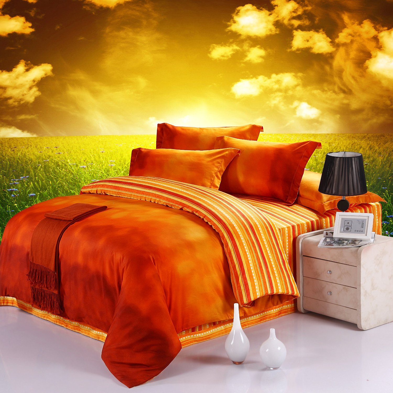 beautiful orange bedding sets for sale