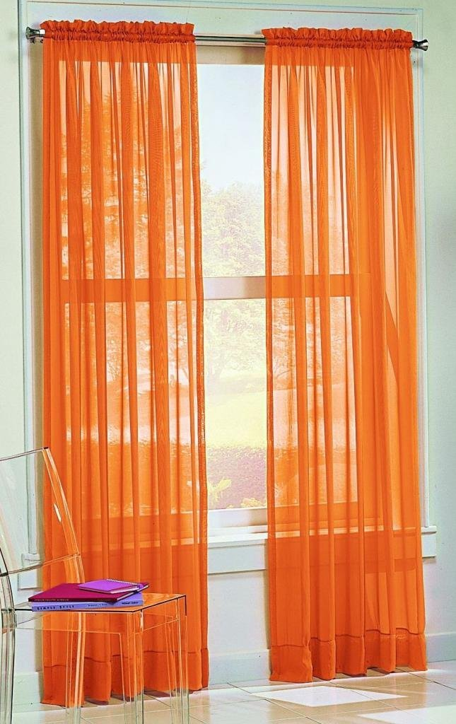 Solid Orange Sheer Curtains
