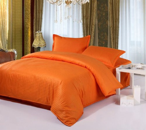 fancy orange stripes bedding set