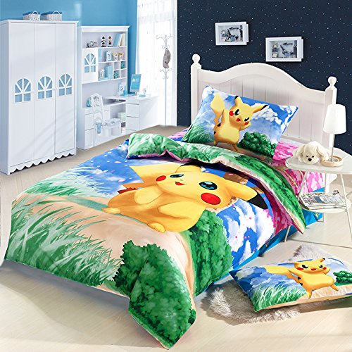Japan Cartoon Anime Pokemon Pikachu 3 Piece Bedding Set