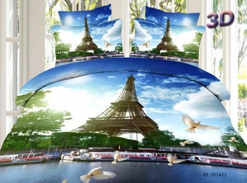 Stunning Eiffel Tower 3D Quilt Set