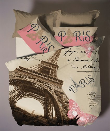 Cute Paris Single Twin Size Duvet Cover Set
