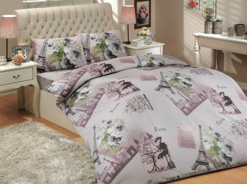 Paris Soft Lilac Single Twin Size Duvet Cover Set