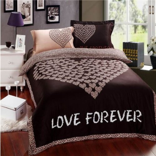Chocolate Color Heart Print Duvet Cover Set
