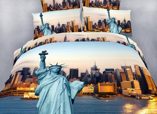 Stunning Statue Of Liberty Nyc Themed Bedding Set