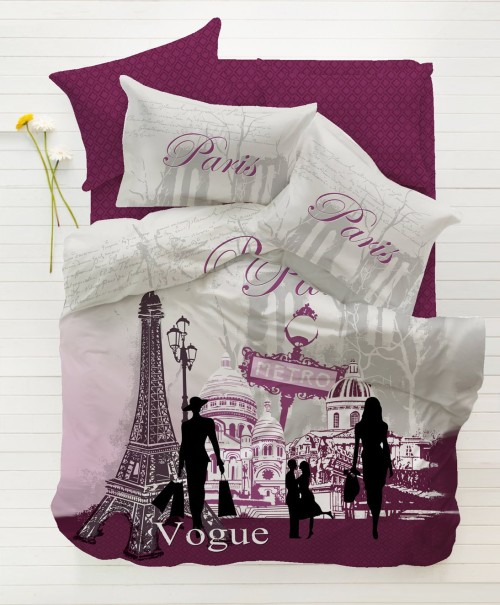 Cool Paris Vogue Purple Single Twin Size Duvet Quilt Cover Set