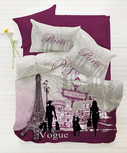 Cool Paris Vogue Purple Single Twin Size Duvet Quilt Cover Set