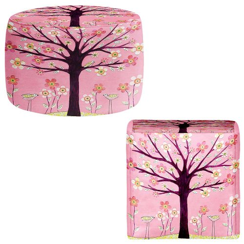 Pink Bird Tree and Flowers Ottoman Foot Stool Pouf Round or Square