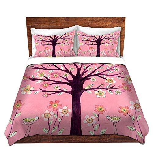 Cute Pink Bird Tree Duvet Cover