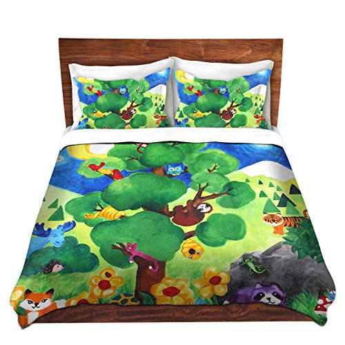 Colorful Tree of Wildlife Duvet Cover