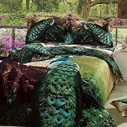 Stunning Artistic Green Peacock Print Bedding Set