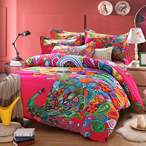 Cute Pink Peacock Bedding Set