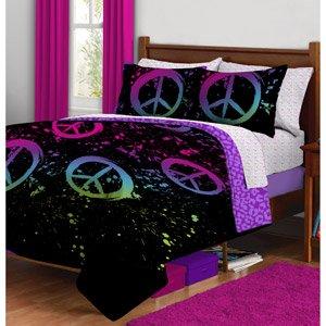 Fun Black Purple Pink Peace Sign Twin Girls Comforter Set