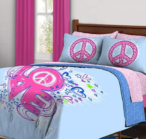 Cute Peace and Love Comforter Set for Girls