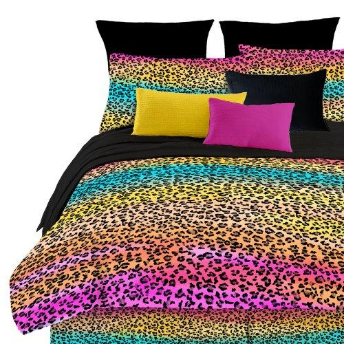 Rainbow Leopard Prin Comforter Set