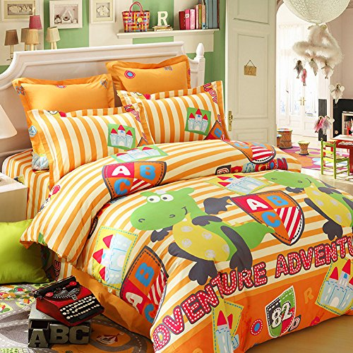Cool Orange Striped Dinosaur Bedding