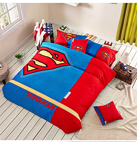 Gorgeous Superman Blue Red Yellow Bedding Set for Boys