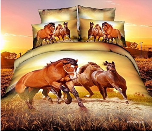 3d Oil Painting 3 Horses 3d Bedding Set
