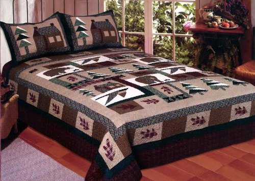 King Size Winter Cabin Quilt Set