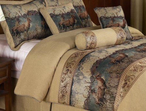 French Country Wild Deer and Elk Design 7-Piece Comforter Set