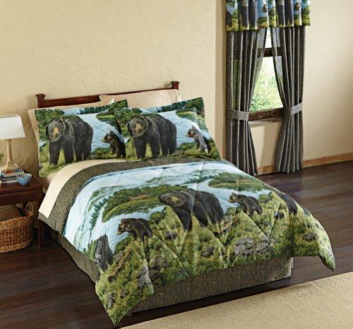 Black Bear Woodland Scene Bedspread Comforter Set