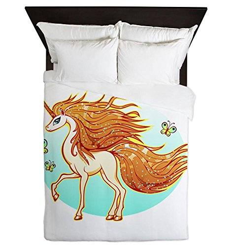 Unique Golden Sparkle Unicorn with Butterflies Duvet Cover