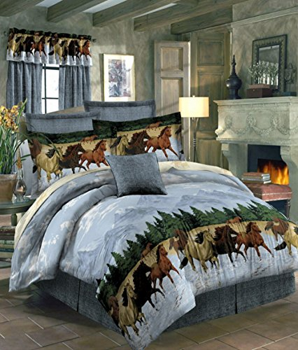 Country Horses Running By The Water Full Comforter Set